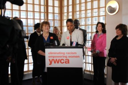Stand Against Racism is a series of Rochester events with about 200 organizations participating. This year the YWCA hosted a Stand Against Racism breakfast April 25 which approximately 400 people attended. Pictured at the podium are Jean Carroll, president and CEO of the YWCA of Rochester and Monroe County (left) and Dr. Dara Richardson-Heron, CEO of the YWCA USA.